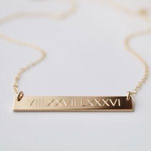 14K Gold Filled Premium Engraved Bar Necklace